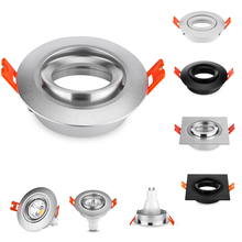 10 sztuk okrągły kwadrat czarny/srebrny aluminium oprawy LED wykończenia halogenowe reflektory GU10 MR16 ramki wpuszczane Led armatura