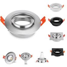 10PCS Round Square Black/Silver Aluminum LED Fixtures Trim Halogen Spotlights GU10 MR16 Frame Recessed Led Fittings
