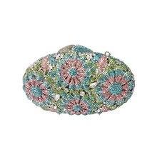 Sparkle Blume Metall Kupplung Geldbörse Kleine Kupplung Taschen für Frauen Hochzeit Prom Dinner-Party Luxus Abend Geldbörse und Taschen