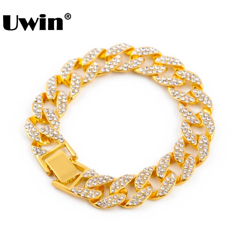 Gold Voll Iced Out Hip Hop CZ Armband Mens Miami Kubanischen armband männer Luxus Simuliert Diamant Art Und Armreifen