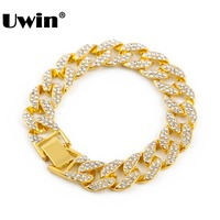 Hot Sale 8 MIAMI CUBAN LINK Full CZ CRYSTAL Stones Gold Silver Plate 15mm FULLY Iced