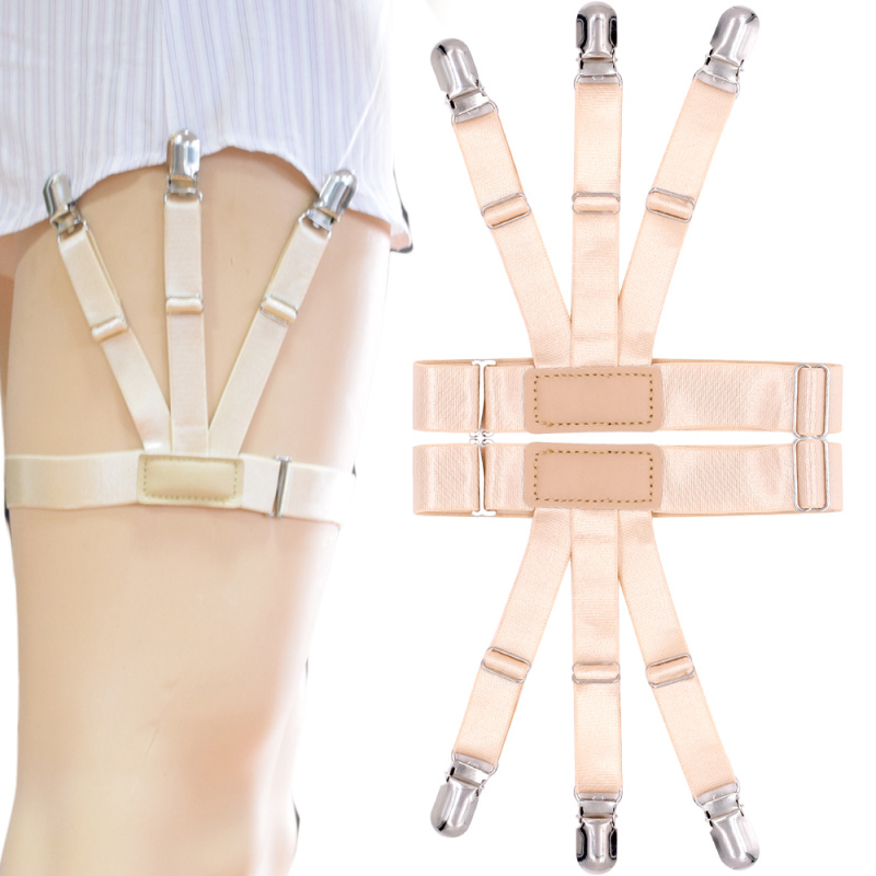 New Shirt Stays Holder Gentleman Leg Suspenders Braces Skin Color Elastic Uniform Business Strap Shirt Garters 1pair MR1136