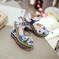 2016 novo clássico da moda verão flor peixe-dedo do pé das mulheres sandálias cunhas mulheres sandálias calcanhar elegante confortável e breathess ss69