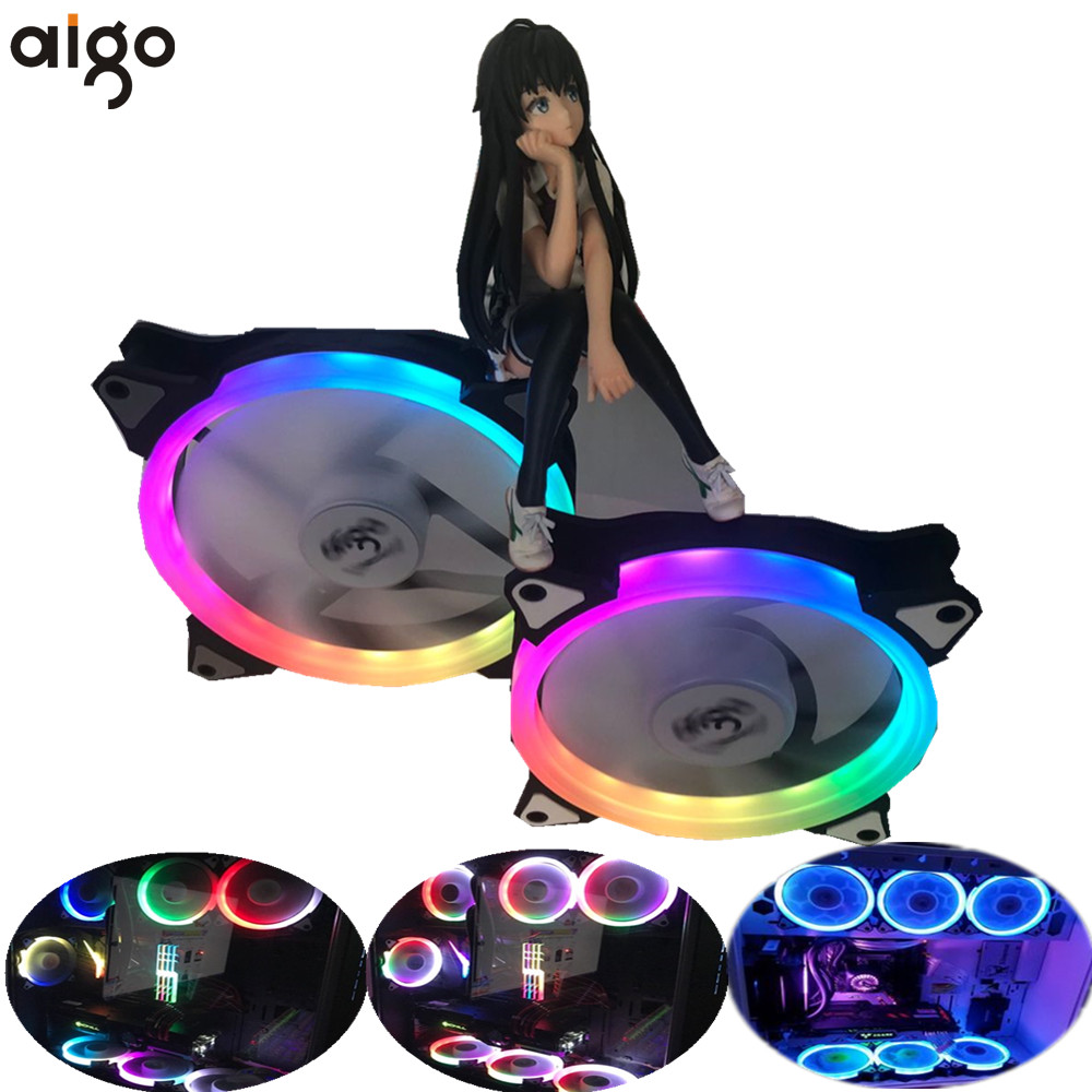 Aigo aurora C5 rainbow lights Colorful RGB Adjustable Colour Fan 140mm LED PC Computer Cooling Cooler Silent Case Fan controller gdstime 10 pcs dc 12v 14025 pc case cooling fan 140mm x 25mm 14cm 2 wire 2pin connector computer 140x140x25mm