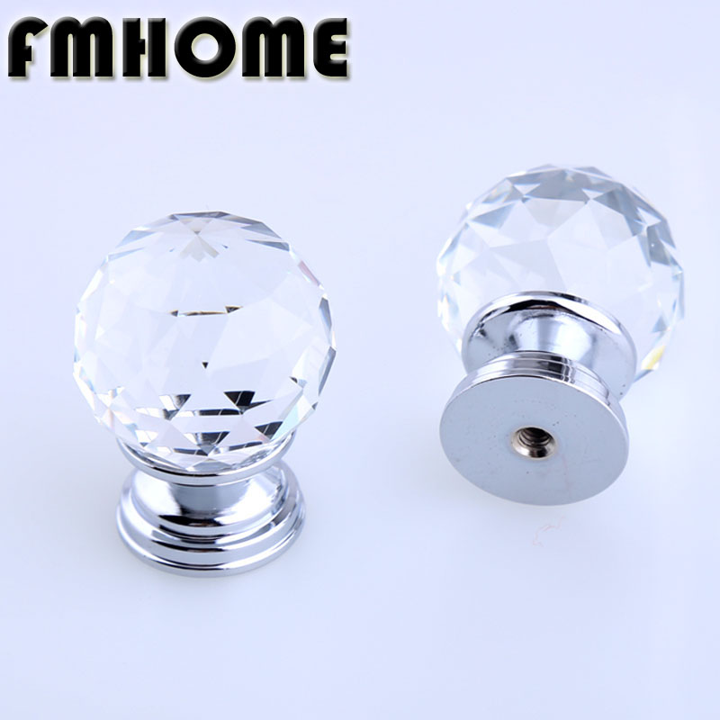 31mm Mdern simple fashion glass crystal drawer tv table knobs pulls diamond head silver chrome kitchen cabinet cupboard handles modern simple fashion clear glass crystal drawer tv table knobs pulls rose gold rhinestone kitchen cabinet cupborad door handles
