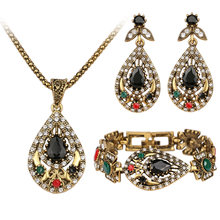 Unique Gold 3 Pcs Vintage India Jewelry Sets Hot Sale Crystal Hollow Out Geometric Statement Necklace Bracelets Earrings Set(China)