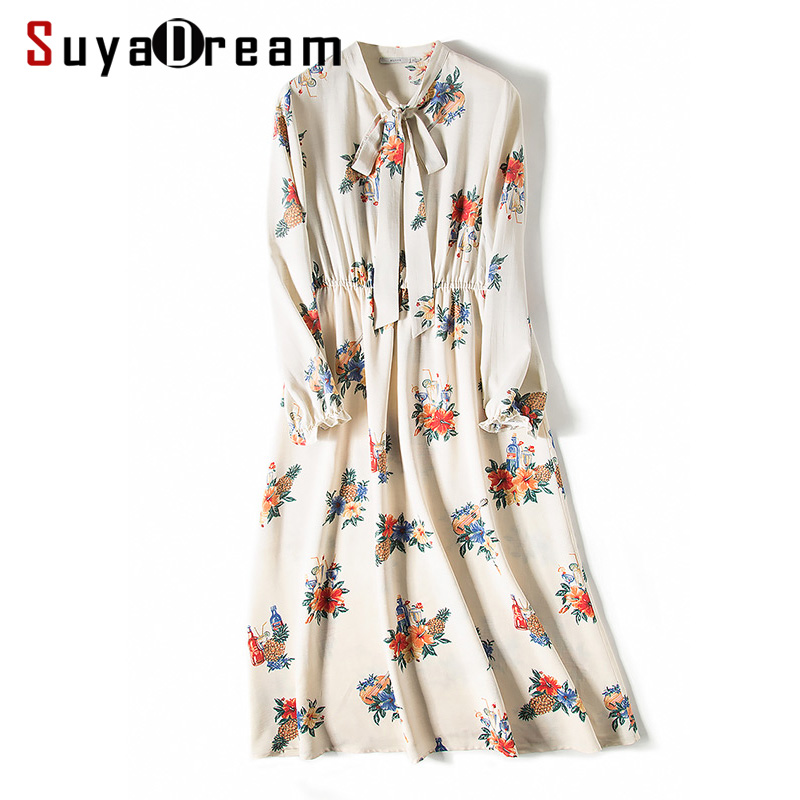 Women Long Dress Luxury 50% Silk 50%Cotton Floral Printed Elastic Waist Long dresses 2018 new Spring