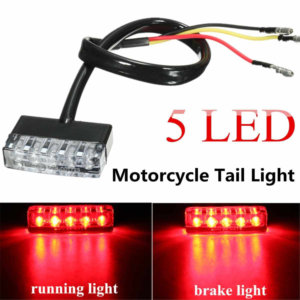 12v universal motorcycle atv bike mini 5 led rear lamp taillight running stop signal brake lights [ 1200 x 1200 Pixel ]