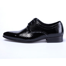 QYFCIOUFU Lace-up Business Wedding Patent Leather Oxford Shoes For Men Dress Shoes Snake Pattern Pointed Toe Men Formal Shoes