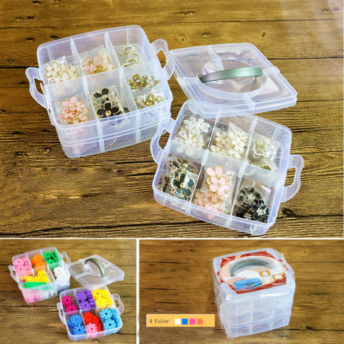 3 Layers Removable Plastic Storage Box,Jewelry/Earring/Tools Container Organizer