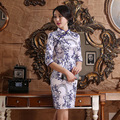 New Autumn Cheongsam Chinese Traditional Dress Blue and white Silk Satin Half Sleeve Vintage Stand Neck Qipao Chinese Dresses