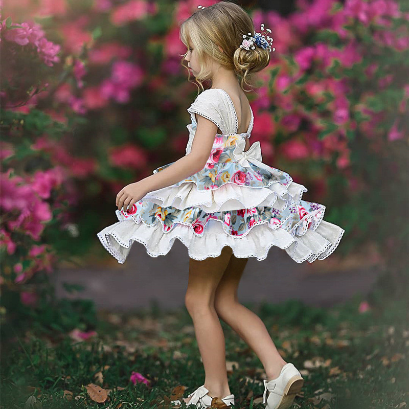 Girl   Lace   Flower   Princess   Dress   Vintage Spanish   Dress   Lolita Party   Dress   for   Girls   Summer Floral Patchw   Dresses   Vestidos D1303