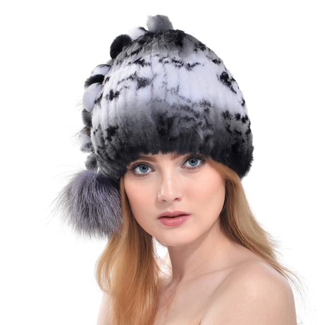 Imixlot fashion mujeres de conejo auténtica rex sombrero de piel real de plata Gorro de Piel de zorro Súper Elástico Gorros de Invierno Sombrero De Piel Casuales Cap