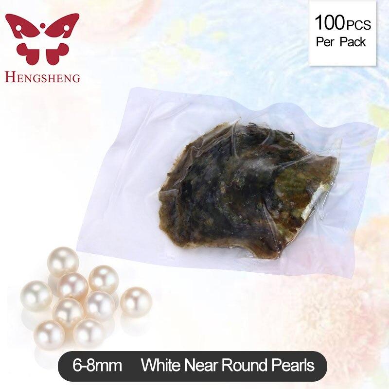 Lumière Blanc Couleur Perle Huîtres akoya perles colorées En Gros Coloré Perles Rondes Pour La Fabrication de Bijoux 100 pcs 6-8mm