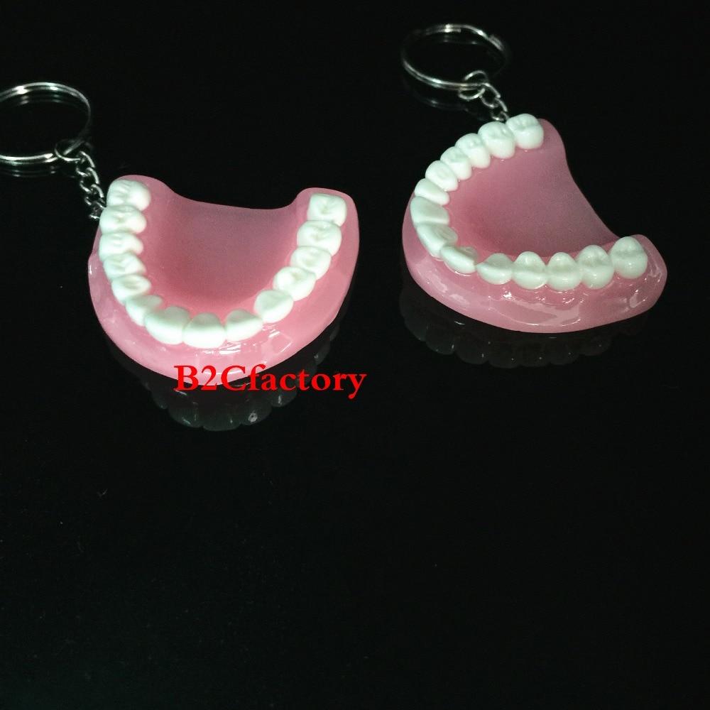 2Pcs Dental Clinic Gift Teeth Model Keychain Dental Keyring Ring Pink