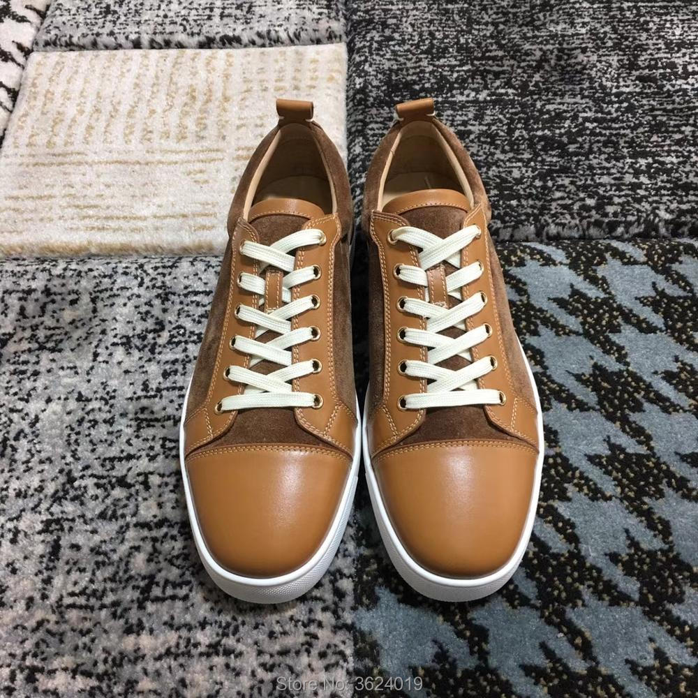 8c8877d9b1d Low Cut cl andgz Outdoor Sports Lace up Rivets Fashion Red bottom Shoes  Sneakers Leather Loafers