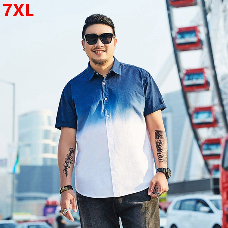 Large Size Men's Loose Shirt Summer Trend Hanging Dye Gradient Change Oversized Short-sleeved Shirt