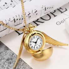 Bronze Steampunk Harry Potter Golden Snitch Ball Quartz Pocket Watches Clock With Fob Necklace Chain Children Kids Xmas Gift Box(China)