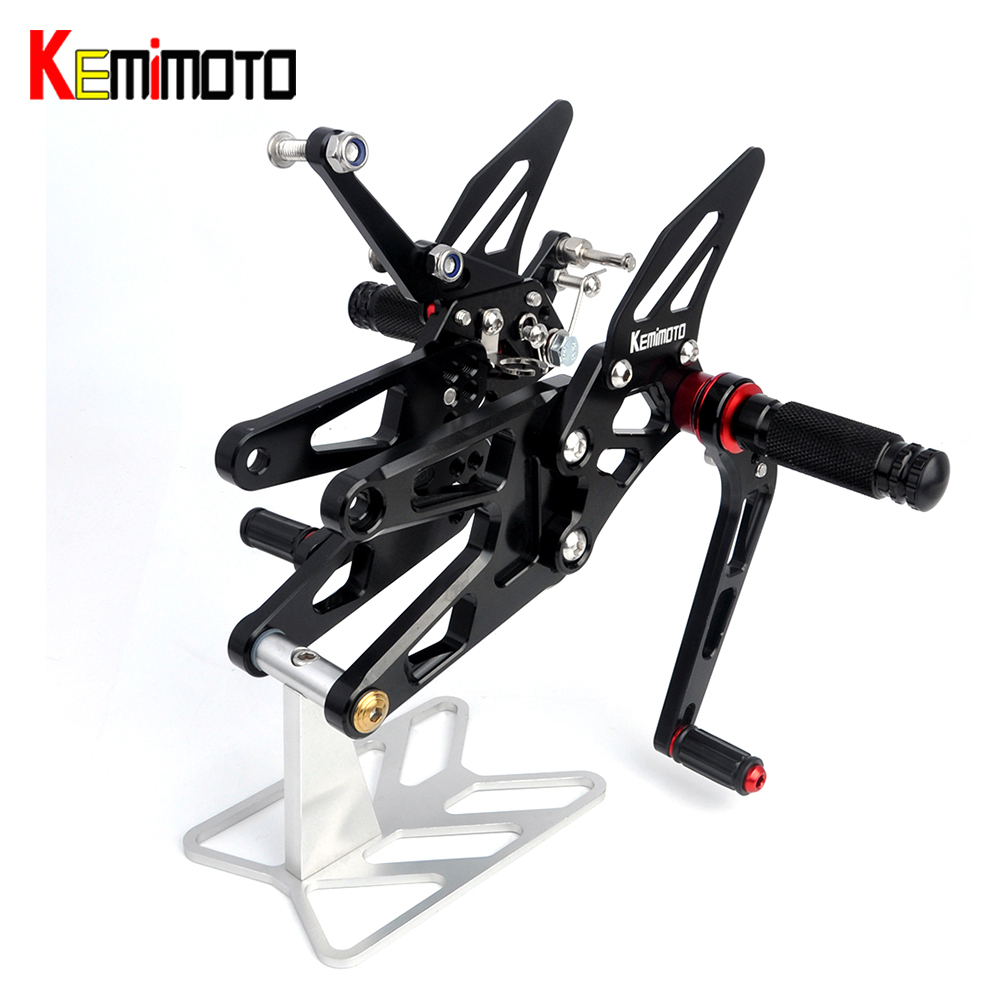 KEMiMOTO Motorcycle Accessories For YAMAHA YZF-R6 YZF R6 CNC Rearsets Adjustable Rear set Foot pegs Foot rests 2003 2004 2005 abs plastic speedometer gauge case cover for yamaha yzf r6 yzf r6 2003 2004 2005 tachometer