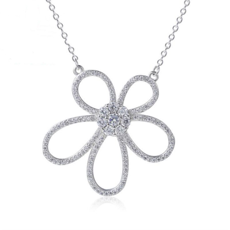 New Arrival Fashion 925 Sterling Silver Jewelry Temperament Crystal Large Flower Female Pendant Necklaces  H307