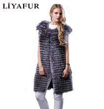 LIYAFUR 2016 Fashion Style Real Genuine Natural Silver Fox Fur Long Vest Gilet Waistcoat for Women Cashmere Lining Coats