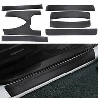 BBQ@FUKA 8pcs Car stayling For Honda Accord 2018 Door Entry Protector Sill Scuff Plate Trim Leather Film sticker