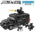Estación de policía swat a prueba de explosiones de coches serie militar 3d bloques de construcción modelo compatible con lego city boy toy aficiones regalo