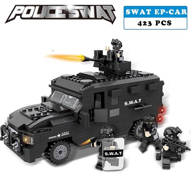Przeciwwybuchowe samochód policji SWAT Wojskowe Serii 3D Model klocki kompatybilne z lego city Chłopiec Zabawki hobby prezent