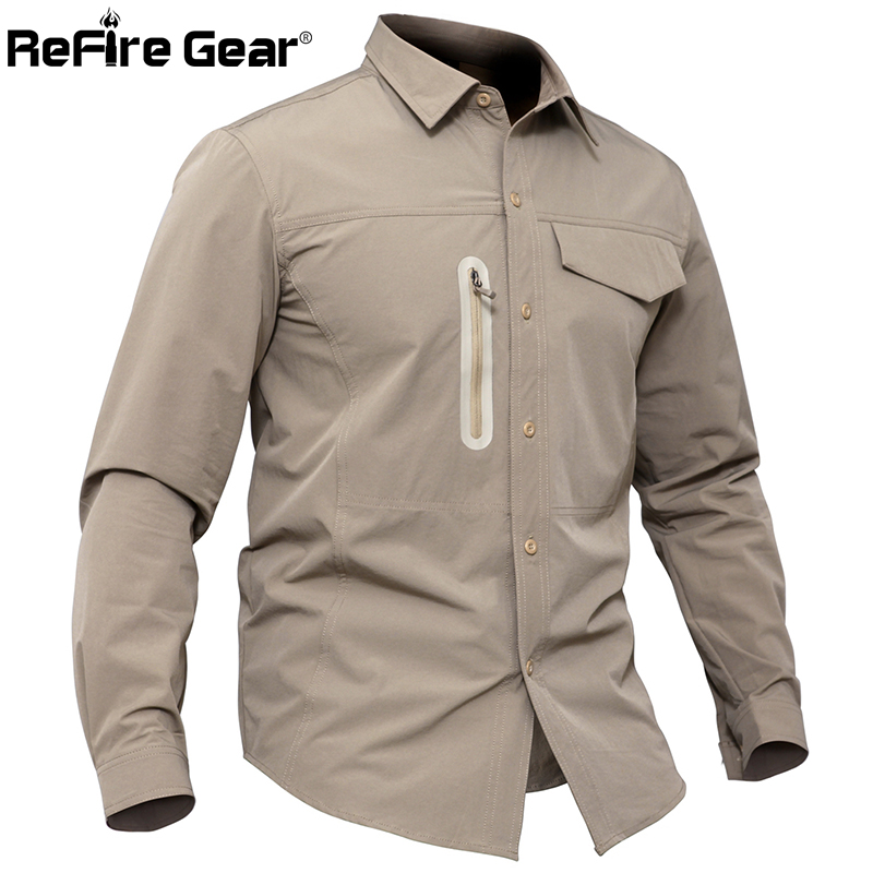 ReFire Gear Military Tactical Shirt Men Thin Breathable Stretch Army Combat Shirts Casual Quick Dry Waterproof Long Sleeve Shirt