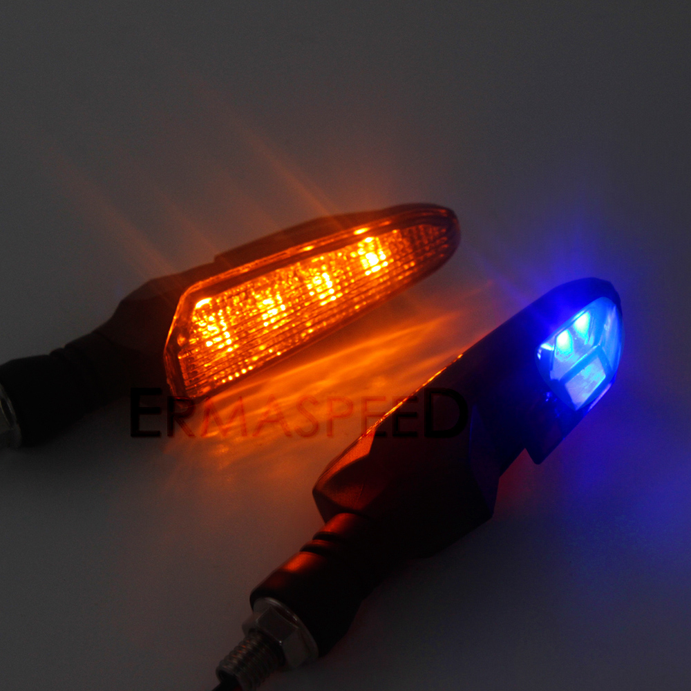 Pair Universal Motorcycle LED Turn Signal Lights with Front Amber Rear Blue Indicators For Kawasaki Z900 Z900RS Z800 Z1000