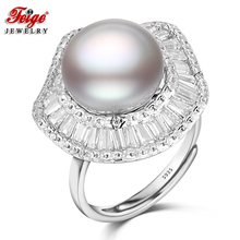 Designer 925 Sterling Silver Big Pearl Ring for Women Party Jewelry Gift 11-12MM Gray Freshwater Pearl Cubic Zirconia Ring FEIGE