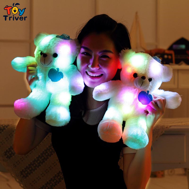 Triver Toy 35cm colorful glowing luminous light up toys plush cute bear gift for children baby kids Creative home deco birthday