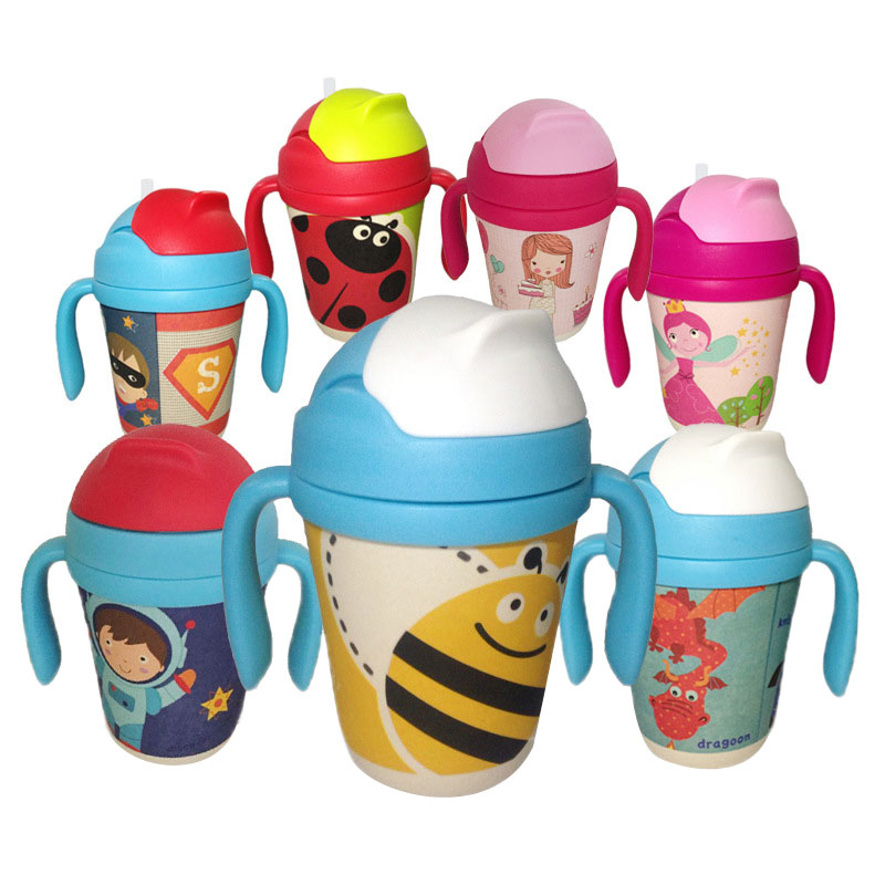 300ml Bamboo Fiber Straw Bottles Portable Baby Drinking Cups Children's Bottle For Water Handle Cups For Baby Girls Boys Kettle