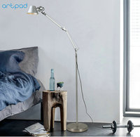 Artpad Long Arm Metal Light Floor 5W E27 LED Bulb Living Room Bedroom Beside Reading Floor Lamp Morder Standing Light