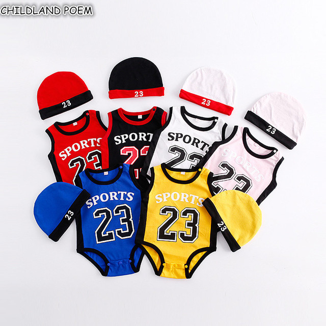 7943a3d5522b Newborn Baby Rompers Summer Cute Sport Basketball Baby Clothes 100% Cotton  Infant Bebes Boys Girls Jumpsuit Clothes With Hat
