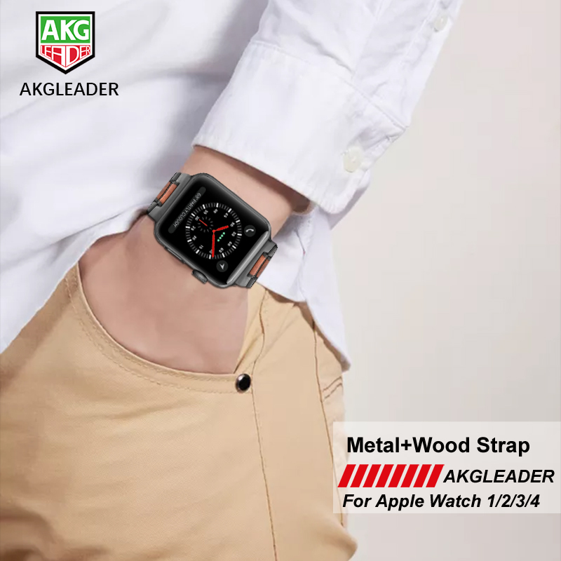 Natural Wood+Metal Steel Watch Strap Band For Apple Watch Series 1 2 3 4 38mm 42mm 40mm 44mm iWatch Watchbands 40mm 44mm watch band for apple watch series 4 natural wood watch strap band for apple iwatch series 1 2 3 4 38mm 42mm watchbands