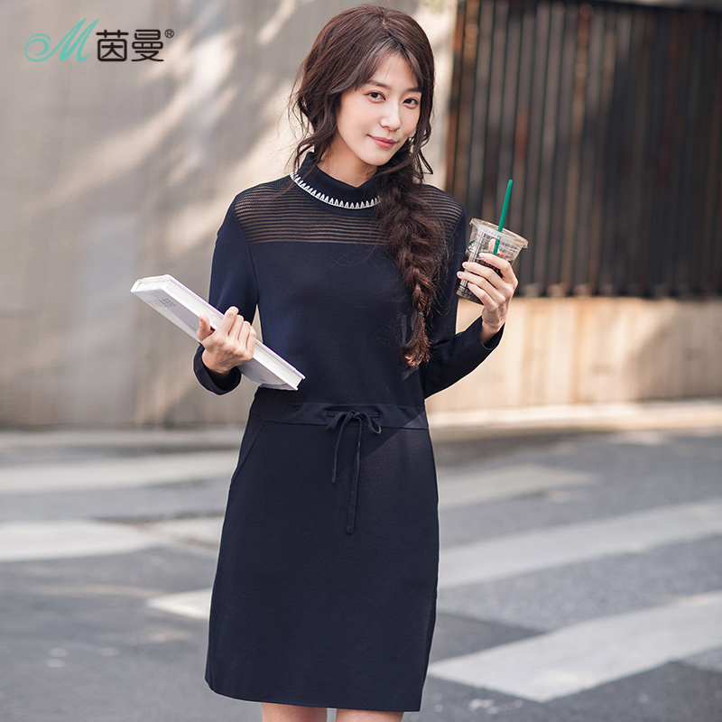 INMAN 2018 New Products Women Spring Round Neck  Loose   Long Sleeves  Dress