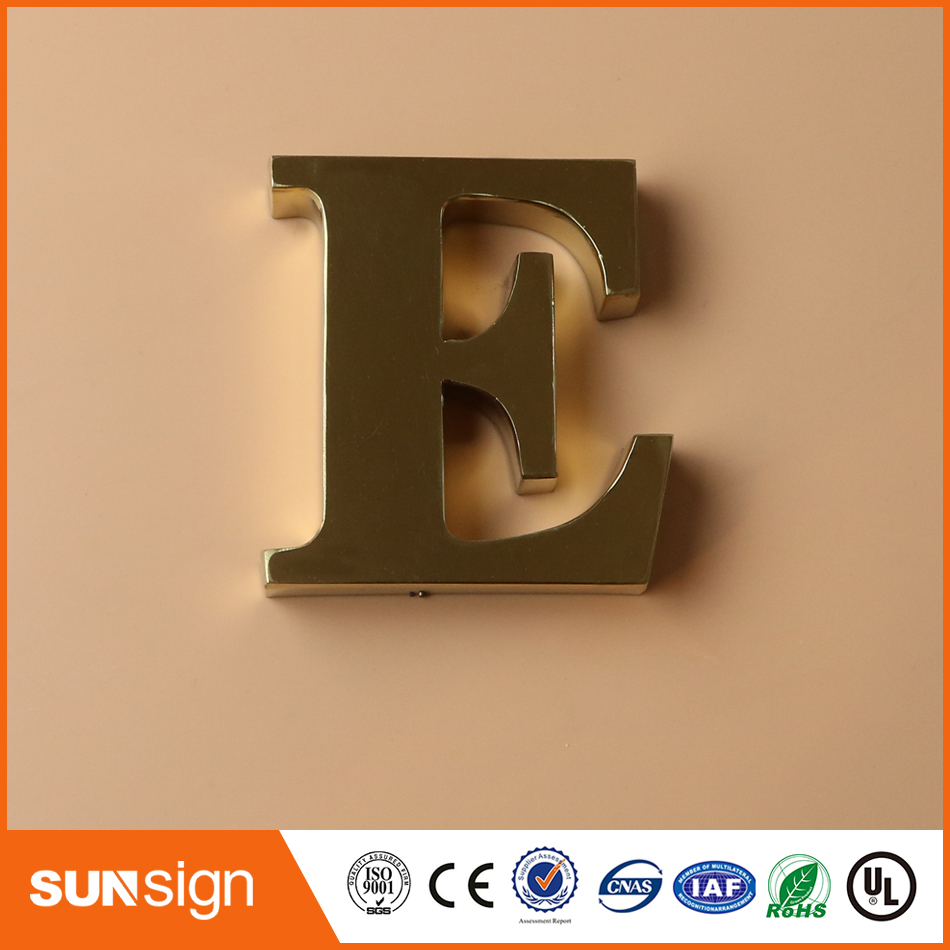 professional custom-made brushed stainless steel letter sign for lobby signs and wall signs YIJIAO