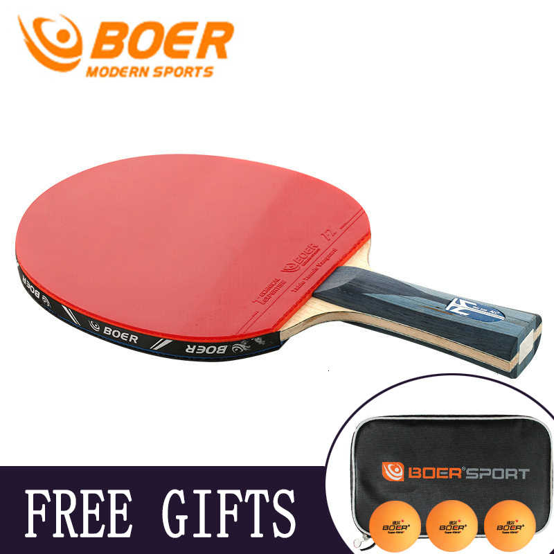 BOER S7 Professional Short and Long Handle Carbon Fiber Table Tennis Racket Ping Pong Racket Paddle Bat Blade Shakehand Racket
