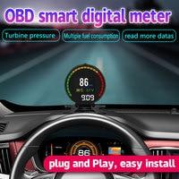 RMLKS P15 OBD2 Heads Up Display Hud Display Car OBD Speed Projector Digital Car Speedometer Mileage Fuel Consumption RPM Temp