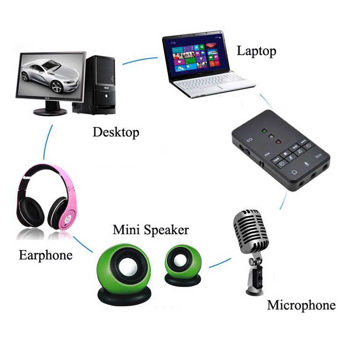 NOYOKERE Pro внешний USB адаптер звуковой карты 7,1 канальный 3D Аудио гарнитура микрофон 3,5 мм разъем для ПК ноутбук Win XP/78 Linux