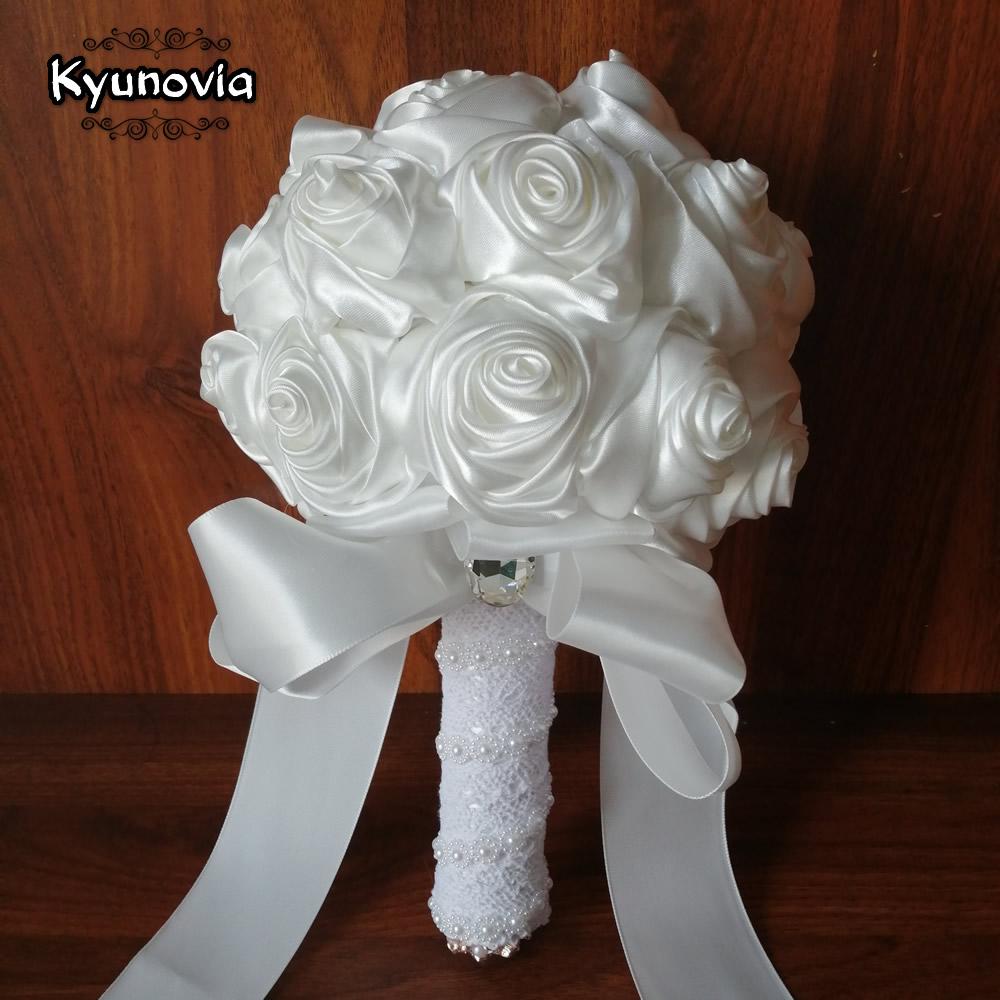 Kyunovia Custom Burgundy White Silk Rose Wedding Flowers Bridesmaid Satin Ribbon Bridal Bouquets Crystal Wedding Bouquet FE76