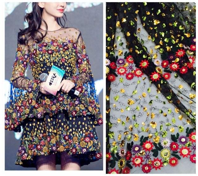 3Yard Net Yarn Three-dimensional Embroidery Chiffon Flower Lace Fabric Mesh Material 130cm DIY Dress Clothing Accessories