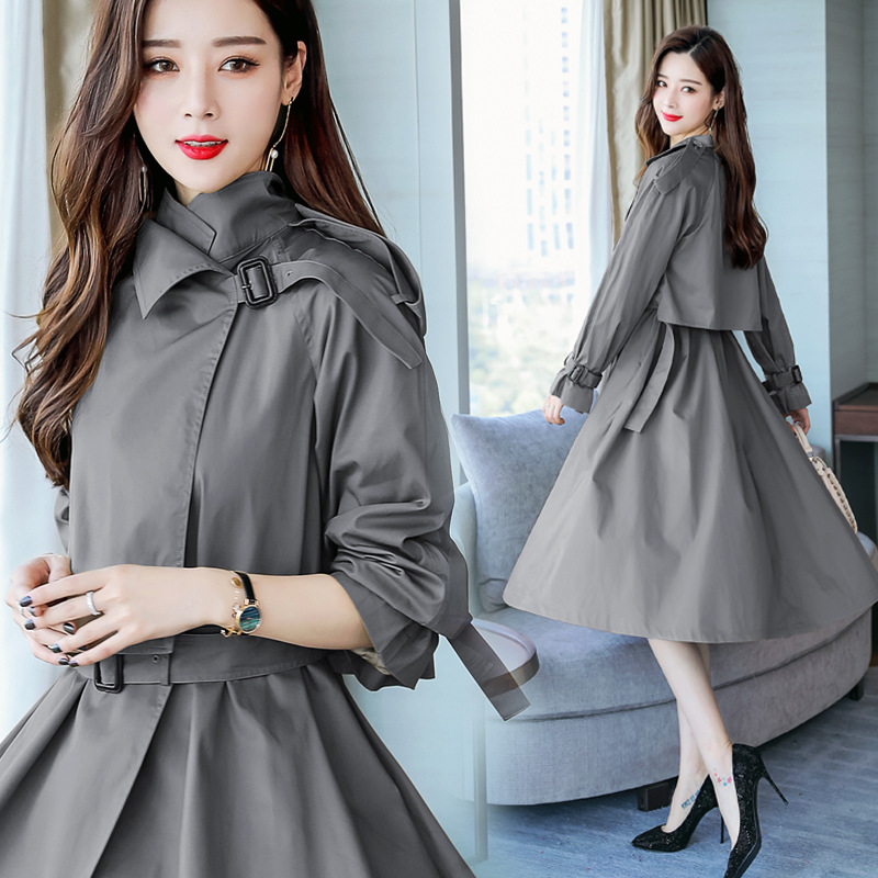2018 New Fashion Mid-Long   Trench   Coat Women Slim Belt Windbreaker Solid Color No-hooded Casual Outwear Female
