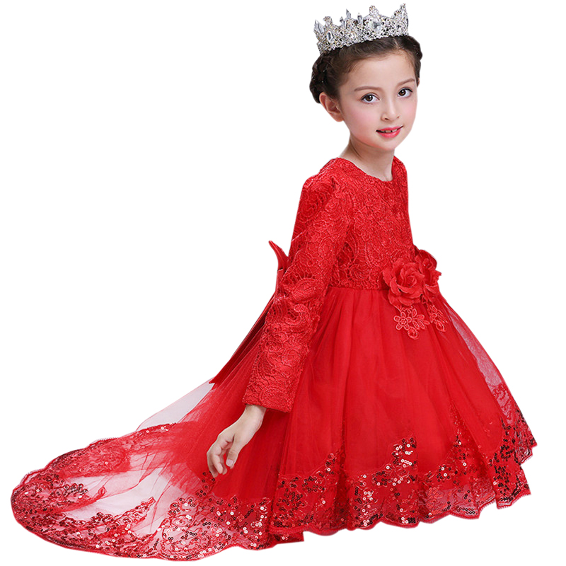 Girls Long Sleeve Princess Children Flower Sequins Girl Dress For Wedding 3-10 Years Girls Trailing Party Prom Dresses the snowman