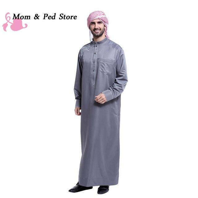 Мусульманин Исламская Одежда для мужчин Аравия Вышивка абая плюс размер дубай мужская Кафтан длинные рукава Джуба одежда