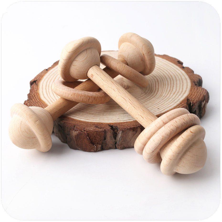 1PC Baby Teether Toys Beech Wooden Rattle Wood Teething Rodent Ring Musical Chew Play Gym Montessori Stroller For Children Goods