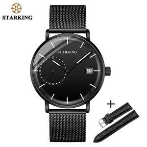 Image 2 - STARKING Men Watch Luxury Quartz Analog Clock Mesh Band Leather Strap SET Watch Auto Calendar Second Dial Watch Man Relogio