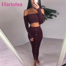 Karlofea Fashion Bodycon Autumn Outfits Two Piece Women Sets Long Sleeve Crop Top And Skirt Sexy Club Party Solid Split Clothing