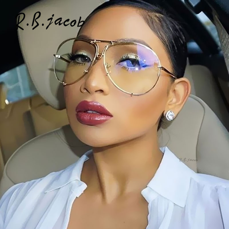 Aviation Oversized 2017 New Famous Brand Design transparent Women Men Mirror Sunglasses Drive Sun Glasses Male